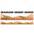 Seamless background design with cactus in desert vector image