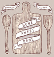 Homemade food poster with cutting board vector image