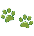 Green Paw Prints vector image