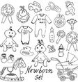 Baby icons toys clothes and cradle hand drawn vector image
