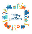 cute christmas greeting card calligraphy vector image