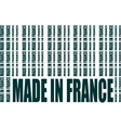 Made in France text and bar code from same words vector image