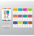 2017 calendar template with modern line graphic vector image