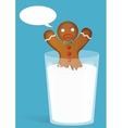 Gingerbread man in milk glass Funny and angry vector image