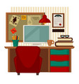 home workplace colorful in vector image