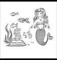 mermaid and fish rocks and seaweed vector image