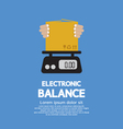 Cardboard Box In Hand On Electronic Balance vector image
