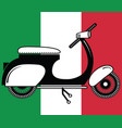 Vintage scooter type 2 on italian flag background vector image