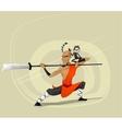 Shaolin warrior monk vector image
