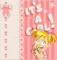 Its a girl pink lovely announcement card vector image vector image
