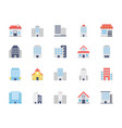 buildings colored icons set 2 vector image
