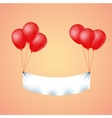 Colorful banner flying with red balloons vector image