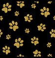 gold dog paw seamless pattern golden glitter art vector image