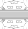 Graphic black and white top view houses on the vector image