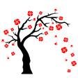 Tree Blowing Flowers vector image