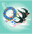 easter swallow bird with floral wreath card design vector image