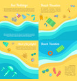 beach banner set cartoon style vector image