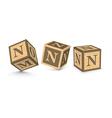 letter N wooden alphabet blocks vector image