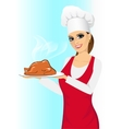 smiling happy cook with baked chicken vector image