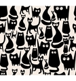 Seamless pattern with silhouettes of cats vector image