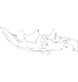 Black White Indonesia Outline Map vector image vector image