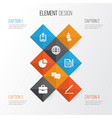 business icons set collection of pie bar id vector image