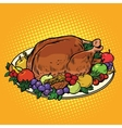 Fried Turkey dish on Thanksgiving day vector image