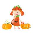 little girl in pumpkin costume for halloween vector image