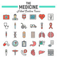 medicine filled outline icon set medical symbols vector image