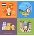 Netherlands 2x2 Flat Icons Set vector image