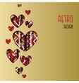 Retro love card Heart design with golden vector image