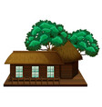 wooden hut with trees vector image