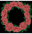embroidery roses frame on black background vector image vector image
