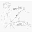 boy barbecuing meat vector image