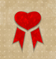 Award ribbon heart for Valentines day vintage vector image