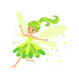 beautiful smiling green fairy girl flying colorful vector image