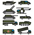 military vehicles and equipment vector image