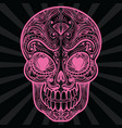 pink mexican sugar skull tatoo vector image
