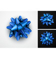 realistic blue bow for gift vector image