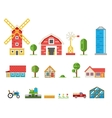 Rural buildings cottages tractor combine pickup vector image
