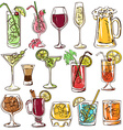Set of isolated colorful cocktails vector image