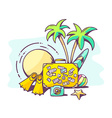 summer holiday on blue background vector image