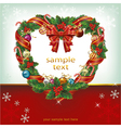 Heart shaped wreath christmas decoration card vector image vector image