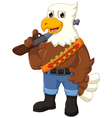 funny eagle cartoon holding rifle vector image