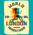 world marathon series retro poster vector image