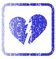 broken heart framed textured icon vector image