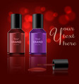 round red glossy nail polish bottle with black cap vector image