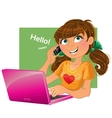 Brown-haired girl with phone and pink laptop vector image vector image