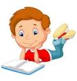 Cute boy cartoon reading book vector image vector image