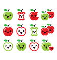 Cute red apple and green apple kawaii icons set vector image vector image